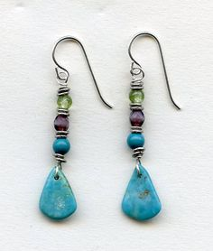 simple blue turquoise drop sterling by RachelMoodybeadwork on Etsy, $28.00