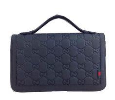 Gucci Rubber Guccissima Leather Travel Document Case 336298 Black - $159.00