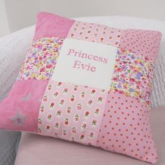 Personalised Princess Name Cushion by Tuppenny House Designs, the perfect gift for Explore more unique gifts in our curated marketplace. Little Girl Gifts, Gifts For Girls, Fall Sewing Projects, Bed Pillows, Cushions, Patchwork Cushion, Doll Stands, Polka Dot Print, Little Princess