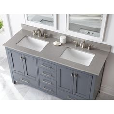 Home Decorators Collection 61 in. W x 22 in. D Engineered Quartz Vanity Top in Sterling Grey with White Double Trough Sink 62112 - The Home Depot Marble Vanity Tops, Engineered Stone Countertops, Vanity, Vanity Sink, Double Sink Vanity Top, Vanity Tops With Sink, Home Decorators Collection, Trough Sink, Vanity Top