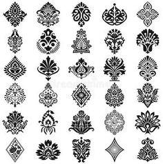 Damask floral pattern set stock vector. Illustration of flower - 40516071