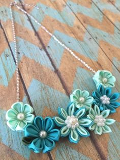 Handmade Kanzashi flower necklace for $25. Perfect look with summer!!!