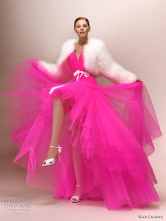 katy bright neon pink wedding dress max chaoul 2013 bridal - bet the man turns and runs like hell when you walk out in this hot pink mess