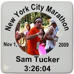 """Personalized Running Hardboard Magnet - Our popular hardboard magnets show off your sport! These white 2.25"""" square hardboard magnets feature our exclusive running design. Add some 'running action' to any refrigerator, locker or magnet board!"""
