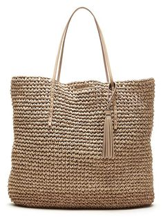 Woven Straw Tote Product Image