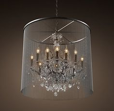 """RH's Vaille Crystal Chandelier 32"""":A shimmering veil of ball chain adds an industrial touch to the Victorian design of our opulent crystal glass and iron lighting collection."""