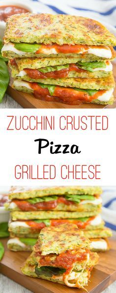 """These sandwiches are made with low-carb zucchini crusted """"bread"""" and filled with tomato sauce, basil and mozzarella cheese. The zucchini crusted bread is toaste Low Carb Recipes, Cooking Recipes, Healthy Recipes, Burger Recipes, Cheese Recipes, Lunch Recipes, Dinner Recipes, Delicious Sandwiches, Steak Sandwiches"""
