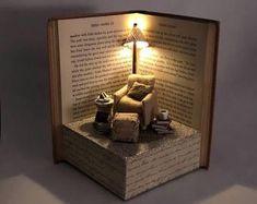 Book nook shelf insert by junesbooknooks on Etsy Old Book Crafts, Book Page Crafts, Miniature Rooms, Miniature Crafts, Fun Crafts, Diy And Crafts, Paper Crafts, Book Sculpture, Art Sculptures