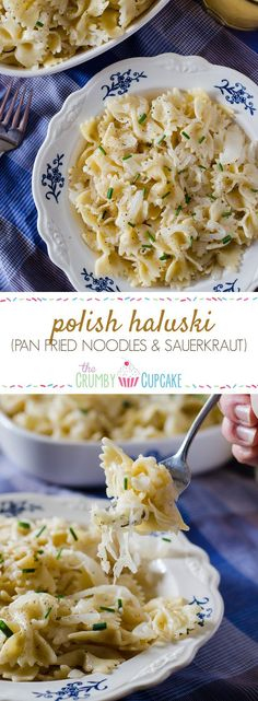 Polish Haluski (Pan Fried Noodles & Sauerkraut) : Pan fried farfalle pasta, butter-caramelized onions, and tangy sauerkraut are all you need to relax and satisfy your soul in this delicious eastern European comfort food. Pan Fried Noodles, Fried Noodles Recipe, Egg Noodles, Vegetarian Recipes, Cooking Recipes, Healthy Polish Recipes, Healthy Food, Eastern European Recipes, Sauerkraut Recipes