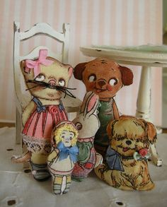 miniature vintage looking puppy cloth doll by LittleBearPaws, $5.50
