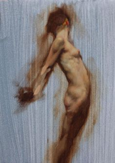 Artist: Stephen Early, oil on linen {contemporary figurative #expressionist art discreet nude redhead female standing woman profile painting} Form !! stephenearly.com