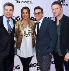 Raul Esparza, Mariska Hargitay, Peter Scanavino and Peter Gallagher at the opening night of Groundhog Day.
