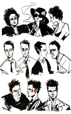 helena bonham carter, edward norton, & brad pitt in...fight club.