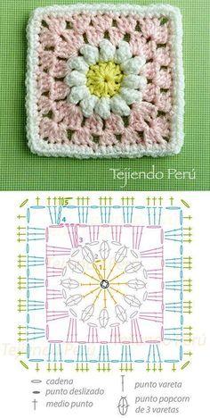 Discover thousands of images about Daisy granny square pattern (diagram)! Cuadrado con flor de margarita tejido a crochet (incluye diagrama)! Motifs Granny Square, Granny Square Crochet Pattern, Crochet Blocks, Crochet Diagram, Crochet Chart, Crochet Squares, Love Crochet, Crochet Flowers, Crochet Baby