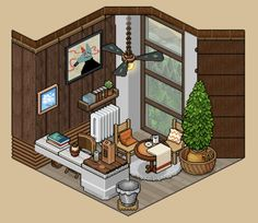 #Habbo #Build #Pixel #Virtual Habbo Hotel, Cute House, Aesthetic Rooms, Fantasy Landscape, Drawing Tips, Pixel Art, Home Art, Interior And Exterior, Kawaii