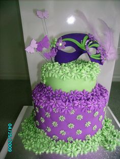Mardi Gras Birthday Cake - 6 inch bottom tier - 4 inch top tier = both Chocolate Cakes.  Torted and ganached - Lime Green from using *Apple Green* from Carolines and purple from using Empress Purple from BlueRibbon  Mask = (white plastic) painted with Empress Purple powdered colour/sugar syrup and then decorated with Regalice and *non edible bling*  Made for a friend who now lives in Australia but loves the bright colours of her homeland South America.