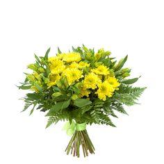 Папоротник (15), Лента натуральная (3), Альстромерия желтая (6), Хризантема кустовая желтая (5)
