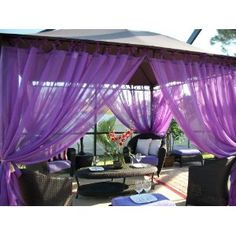 "Outdoor Gazebo Patio Drapes Purple Berry ""Sheer"" Tie Tops 84"" Includes (2) Panels (59"" Wide X 84"") Each. But should I use for pergola or would they look better in master bath?"