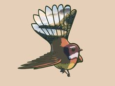 Piwakawaka by the Ben Corlett Bird Design, Affordable Art, Owl, Art Prints, Illustration, Landscapes, Crafts, Animals, Art Impressions