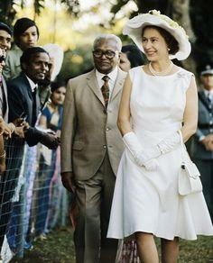 Queen Elizabeth II on a walkabout in the Seychelles