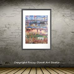 Large Framed Abstract Wild Wood by Diane Wardman Fuzzy Cloud