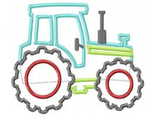 Tractor Applique Design INSTANT DOWNLOAD by DaisySproutsDesigns