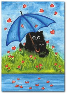 Hand Painted Original Painting  Black Cats A4C for by AmyLynBihrle,