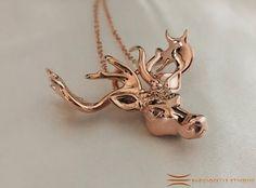 Mistletoe Reindeer Necklace Pendant Rose Gold Plated Brass #Christmas #Reindeer #Mistletoe #ReindeerJewelry #ReindeerPendant