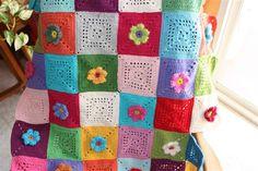flower patchwork crochet blanket