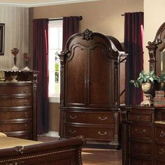 Acme wardrobe bedroom armoire in cherry finish Acme Furniture, Bedroom Furniture, Tv Armoire, How To Clean Furniture, Furniture Cleaning, Tv In Bedroom, Cherry Finish, Traditional Furniture, Furniture Inspiration