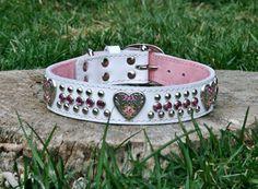 Milan Heart Pink Gems & Black Leather Collar. $55.00, via Etsy.
