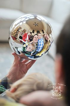 Family picture in a silver ball