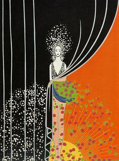 "Chic Original Vintage ERTE ART Deco Print ""PRINTEMPS Spring"" Fashion Book Plate"