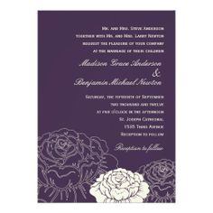 Rose Garden Wedding Invitation - Purple. Click on photo to purchase this item and matching items from the wedding set.