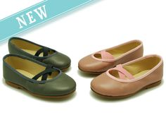 Ballet flat shoes with elastic bands for toddler girls.