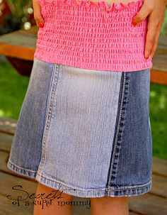 jean pant legs outgrown to jean skirt  Totally cute I need to figure this out and make some for my girls!