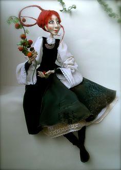 Sigute and wild apple-tree   OOAK art doll  Paper clay  Handmade doll.via Etsy.