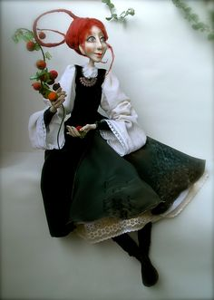 Sigute and wild apple-tree OOAK art doll Paper clay Handmade doll.via Etsy.