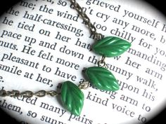 The Tiny Green Leaf Necklace on Antique Gold Chain by InGodsHands
