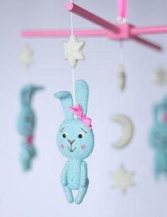 Nursery mobile  Bunny rabbit mobile   Baby Crib by OolyWooly #babymobile #cribmobile #etsy