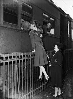 Goodbye kiss at train station