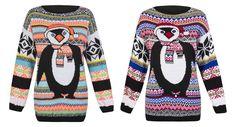 Womens Girls Knitted Christmas Novelty Fairisle Penguin Sweater Jumper - S/M M/L