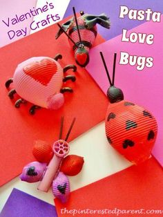 Pasta Love Bugs: Cute Valentine's Day Craft for toddlers, preschoolers, and kindergartners.