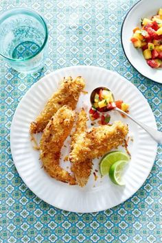 Baked Coconut Tenders with Strawberry-Mango Salsa