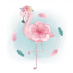 Cute flamingo family in floral crown illustration Cute Animal Illustration, Cute Animal Drawings, Cute Drawings, Crown Illustration, Flamingo Art, Pink Flamingos, Flamingo Vector, Flamingo Flower, Cute Unicorn