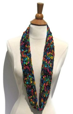 Rainbow Lion Brand Incredible  Yarn Multi-Color Knitted Handmade Necklace / Scarf Cowl by ArtTx, $30.00