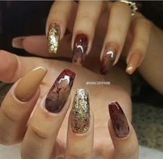 """If you're unfamiliar with nail trends and you hear the words """"coffin nails,"""" what comes to mind? It's not nails with coffins drawn on them. It's long nails with a square tip, and the look has. Nail Designs 2017, Fall Nail Designs, Acrylic Nail Designs, Brown Nail Designs, Fall Acrylic Nails, Autumn Nails, Fall Nail Art, Cute Fall Nails, Acrylic Art"""