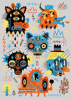 PSYCHO MONSTERS by Seb NIARK1 FERAUT » Design You Trust Monster Illustration, Digital Artwork, Character Design, Illustration Character Design, Drawings, Lowbrow Art, Graphic Illustration, Graphic Design Illustration, Design Art