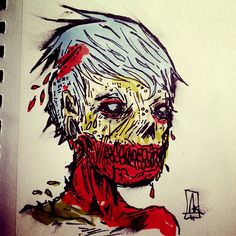 Zombie drawing Aaron Kraten Zombie Zombie, Zombie Face, Zombie Drawings, Rwby, Zombies, Darkness, Collaboration, Blood, Horror