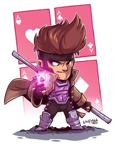 Derek Laufman - Marvel X-Men Gambit Chibi Marvel, Marvel Art, Marvel Dc Comics, Marvel Heroes, Chibi Superhero, Flash Comics, Character Drawing, Comic Character, Character Design